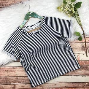Cos navy striped jacquard top